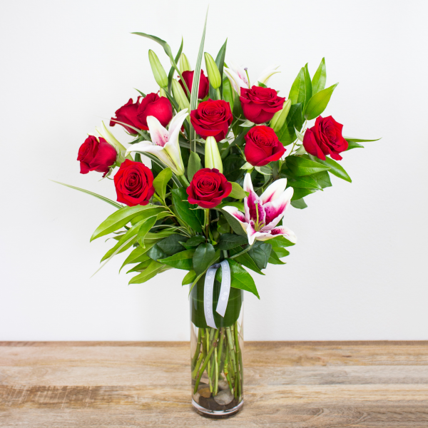 Red Timeless Jewel<br><i>1 dozen modern roses & lilies</i>