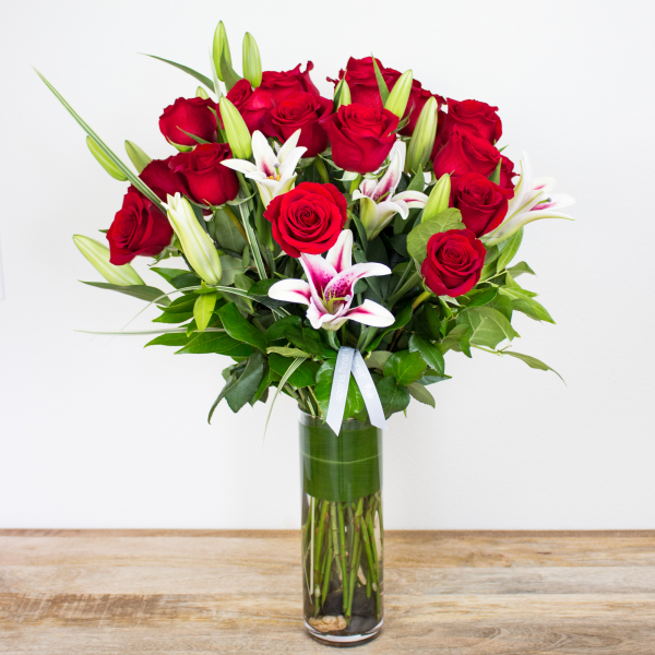Red Timeless Jewel<br><i>2 dozen modern roses & lilies</i>
