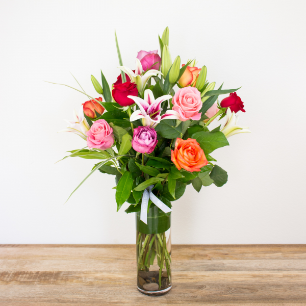 Color Timeless Jewel<br><i>1 dozen modern roses & lilies</i><br />