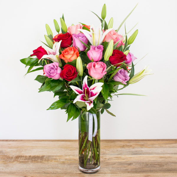 Color Timeless Jewel<br><i>2 dozen modern roses & lilies</i><br />