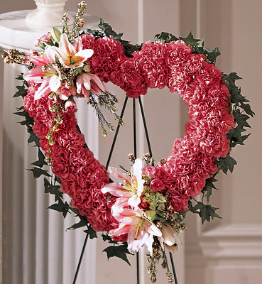 Our Love Eternal Open Heart Standing Wreath