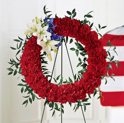 Reno & Sparks Flower Delivery | Sparks Florist® - Sparks To Honor One's Country Standing Wreath
