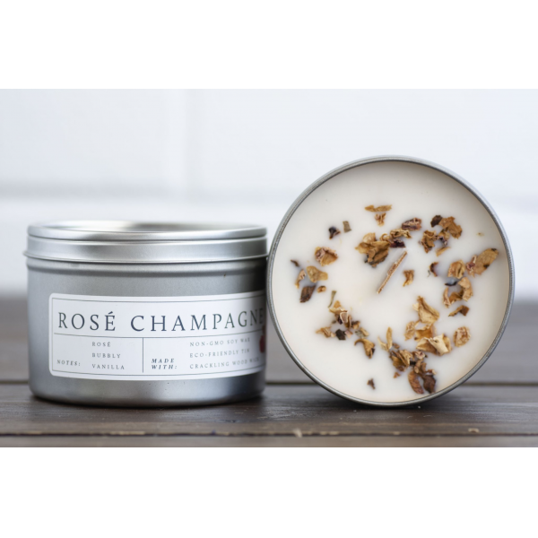 No Tox Life- Wooden Wick Rose Champagne Candle