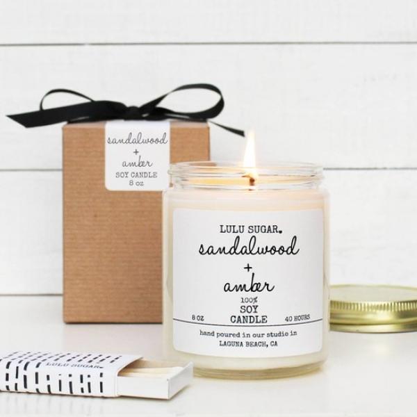 Sandalwood & Amber Soy Candle