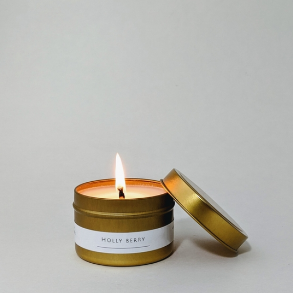 Holly Berry 4 oz Gold Tin Candle