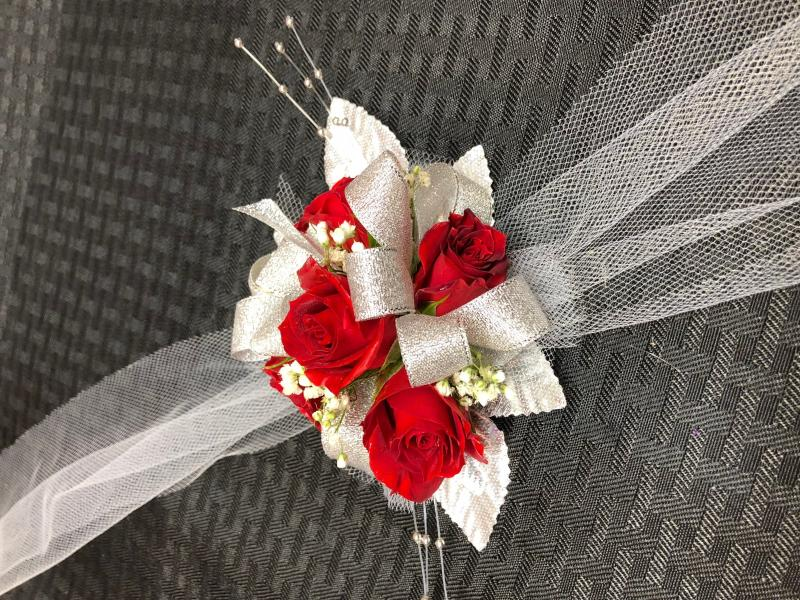 Red Rose Silver Ribbon Corsage