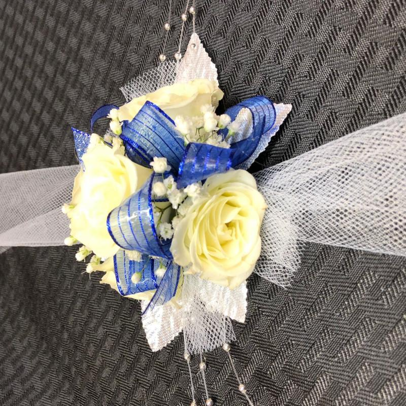 White Rose Blue Ribbon Corsage