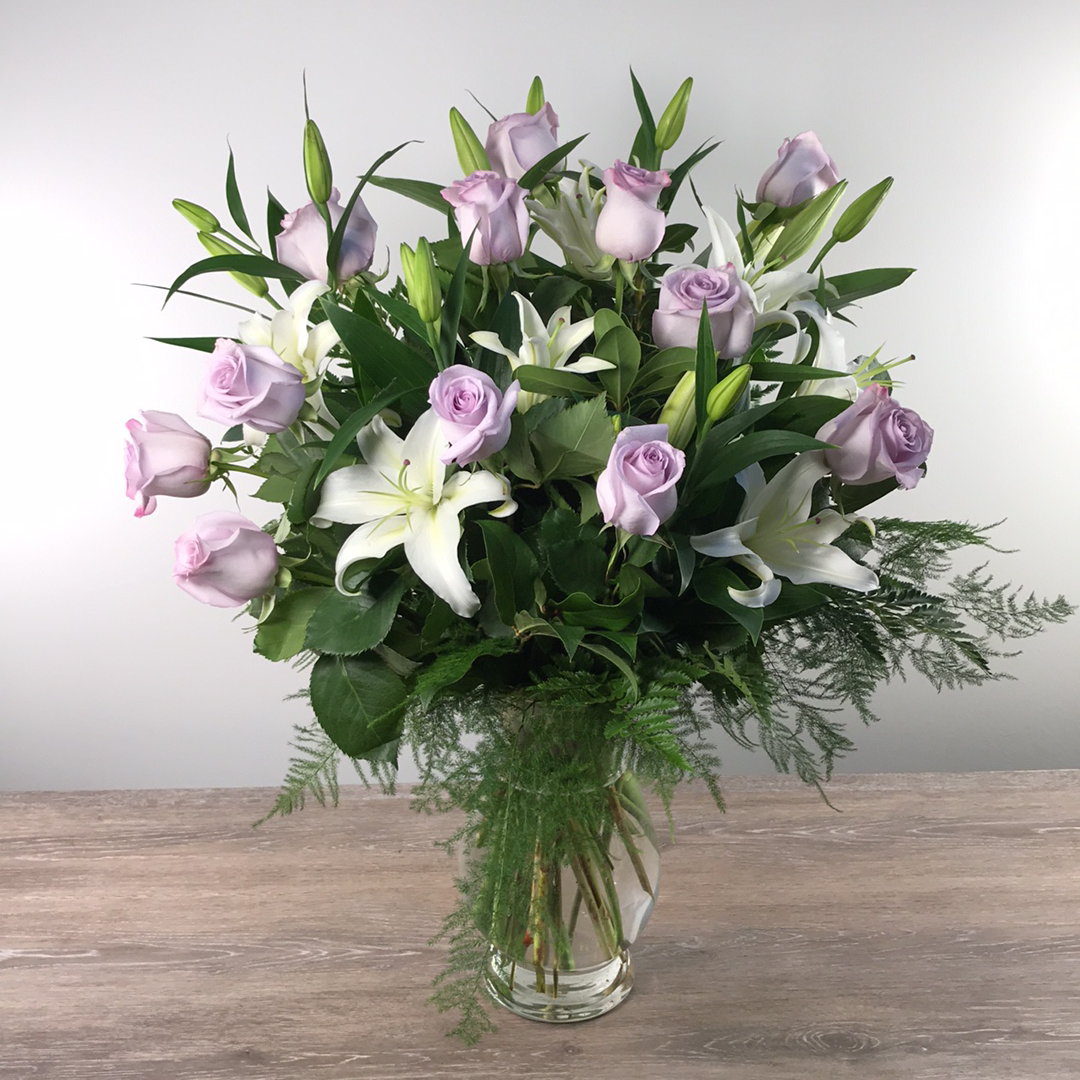 George's Flowers Lavender Roses and White Lilies