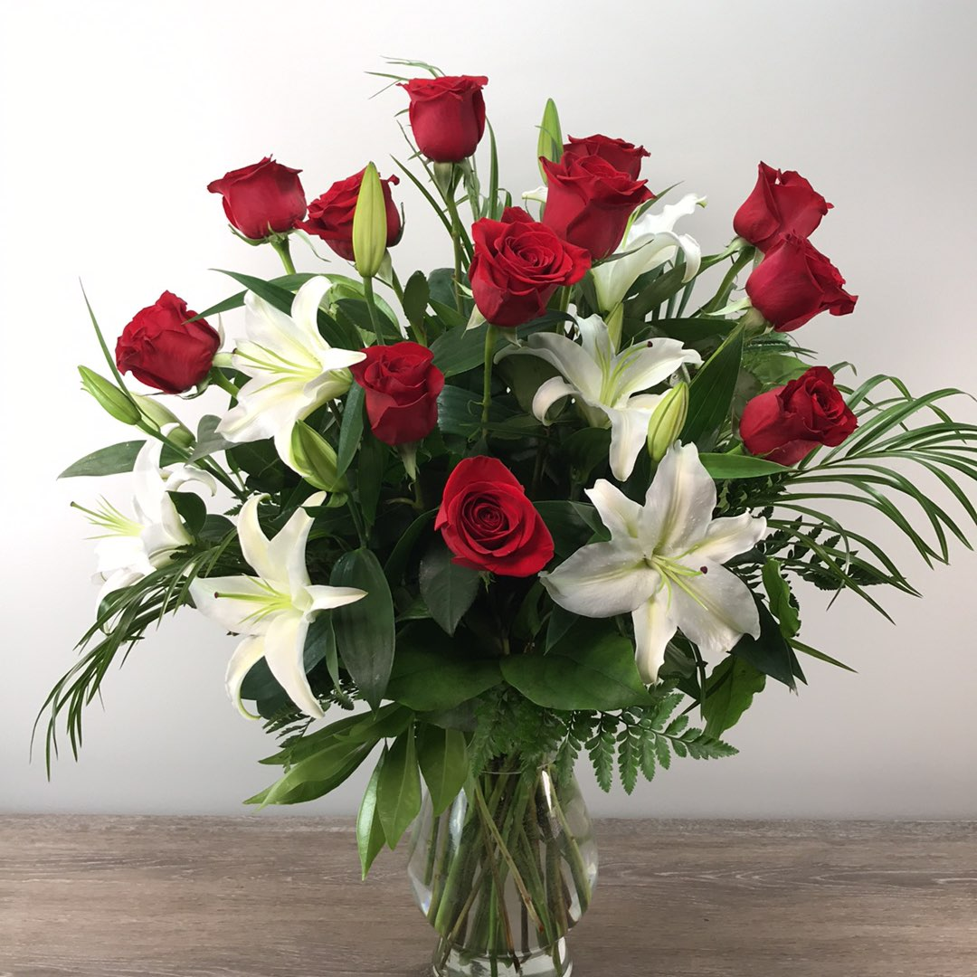 George's Dozen Red Premium Roses and White Lilies