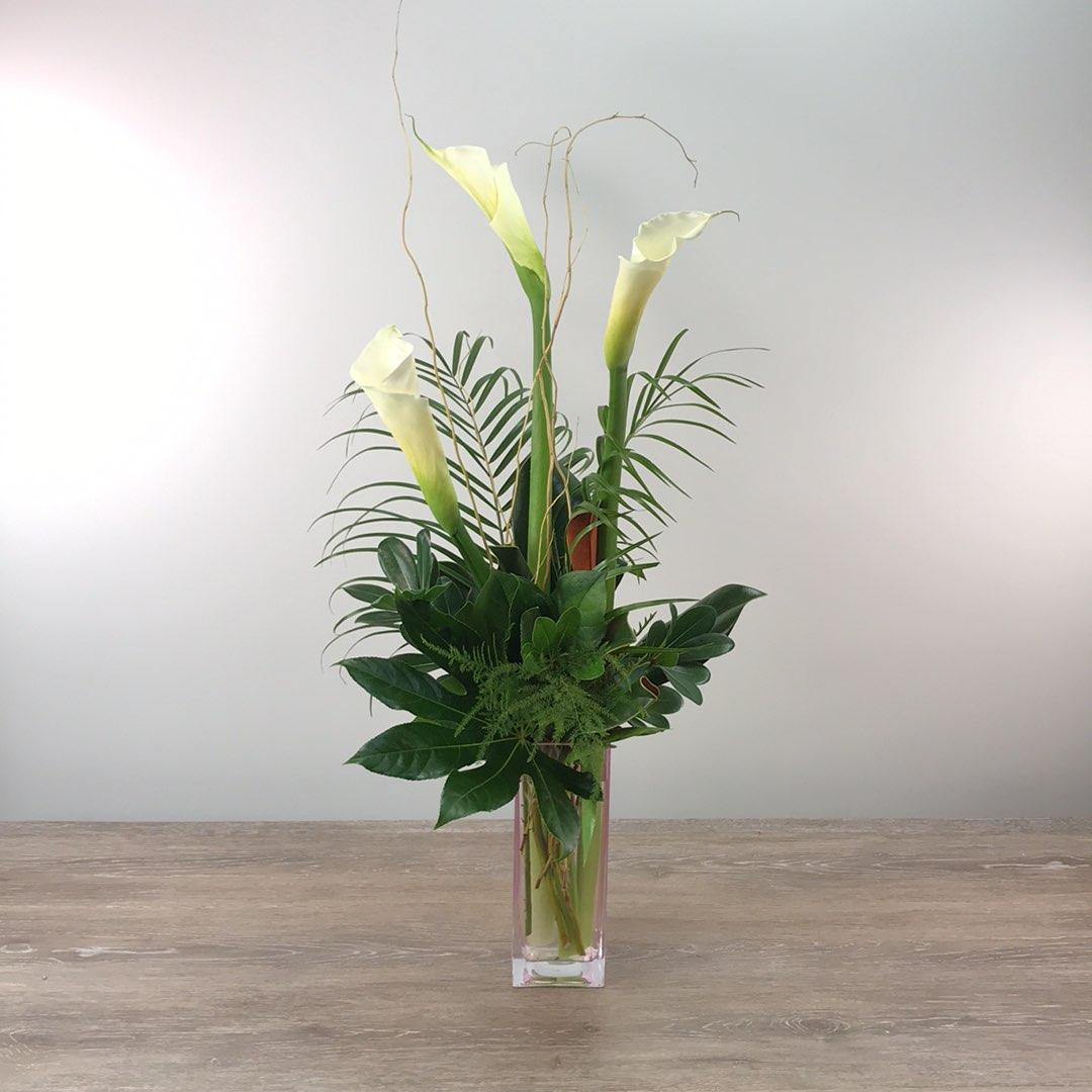 George's Triple Calla Contemporary Vase
