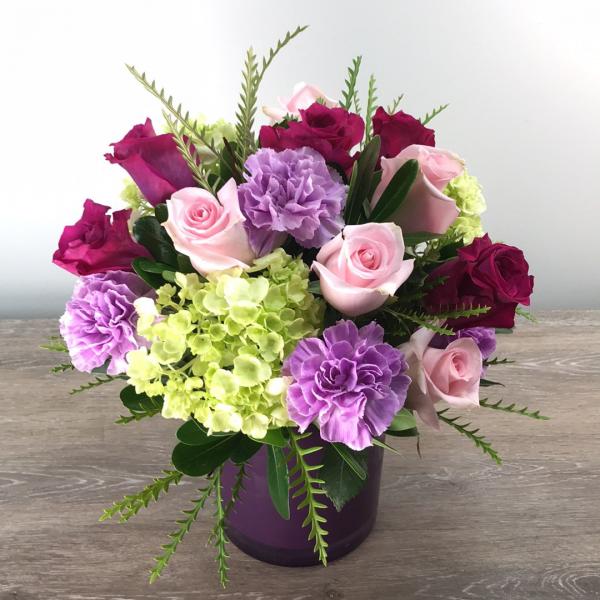 George's Purple Glass Cylinder Rose Design