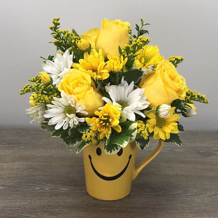 Smile and Be Happy Bouquet (Mug Shape May Vary)
