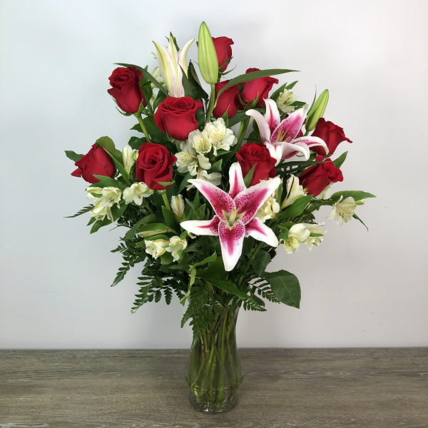 One Dozen Roses with Alstromeria and Stargazer Lilies