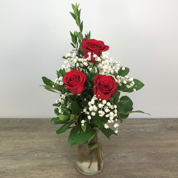 Simple Roses (Vase Color Will Vary)