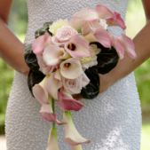 The FTD® Pink Cascade™ Bouquet exudes pure elegance and feminine charm. Pale pink mini calla lilies, roses and dahlias are arranged in a cascade style and accented with a white taffeta ribbon to create an unforgettable look. Approx. 20 x 11