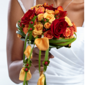 The FTD® Breathless™ Bouquet is a radiant display of love's first light. Red roses are bright and beautiful set amongst yellow and orange spray roses, orange freesia, red hypericum berries and lush greens. Set in an ivory satin bouquet collar, this bouquet bursts with a sunlit charm to bless your wedding day. Approx. 14 x 8