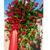 Fremont Flowers grand rose spray consists of 5 dozen roses.  This standing funeral tribute stands over 6 feet tall.  Available in a variety of colors, the Grand Rose spray conveys your deepest respect and sympathy.  Add a custom printed ribbon announcing a family or business name.