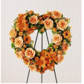 The remembrance heart is a beautiful expression of sympathy.  This memorial tribute can be designed in a variety of colors.  Shown is an autumn look, however, it can also be designed in pink, lavender, white or yellow tones.  Please specify your preference when ordering.