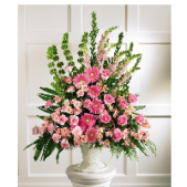 The pastel tribute combines pink Gerbera Daisies, Carnations, Bells of Ireland, Snap Dragons and tropical greens to create a stunning tribute. Other colors are available, please state your preferences in special instructions.