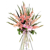 The Gladiolus Standing Spray features all Gladiolus.  These flowers come in a variety of colors.  Be aware that 3 days are necessary for advanced notice to make sure the Gladiolus are at their peak of display.  Colors include yellow, pink, orange, white, peach and purple.