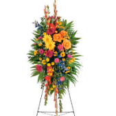 The Floral Standing Garden features a variety of flowers that include Gladiolus, Gerbera Daisies, Roses, Carnations and larkspur.  The colors are vivid.  We can match Sympathy Arrangements to any standing spray to coordinate all flowers for the service
