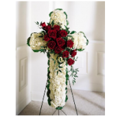 The traditional standing cross with red rose cluster.  This standing cross is a very traditional statement of sympathy expressing ones faith. At Fremont Flowers, we trim the stand with a color coordinated ribbon for a finished look.