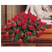 The red rose casket spray.  Shown is a size appropriate for an open casket.  Not shown is a larger size for a full closed casket.  Roses are available in many other colors.
