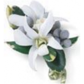 Double white dendrobian Boutonnière:  also available in purple.