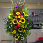 A somber, yet vibrant summer mix of flowers