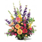 The Traditional Memorial Floral Tribute offers a burst of bright colors that include Roses, Gerbera Daisies, Liatris and Snap Dragons.  Can be transferred to the home or a reception after the funeral service.