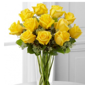 Yellow roses arranged in a vase.  Also available in 2 or 3 dozen bouquets. Other colors are available.   <BR> Please ask a sales rep for color choices.  510-797-1136 <BR> (Prices listed are for local delivery only. Out of area deliveries are subject to change.)