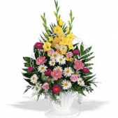 Heavenly highlights sympathy arrangement is perfect for the memorial service or traditional funeral service.