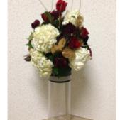 Hydrangea, Roses, Burgandy Carnations