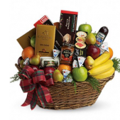 Trimmed in holiday cheer, our individually hand shopped and designed baskets are the freshest available anywhere!  We shop daily to provide the best tasting product.  Please note, products contained within the baskets vary daily depending on availability. Basket shown is an example of our work and should not be considered to be exactly what a recipient will receive.