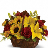 "The Fall ""golden days' Harvest Basket is a traditional favorite.  This basket is one of our all time favorites!  Perfect hostess gift for those who appreciate the rich fall tones! Prices are LOCAL. For out of town orders please choose PREMIUM Price.  Thank you for shopping your Real Local Florist!"