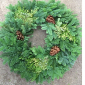 Our fresh Christmas Wreaths come in a variety of sizes.  Candle rings start at $18.95 - large door wreaths start at $39.95and include large bows and ornament accents.