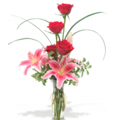 The Rose and Lilly  Budvase.  Red Roses and stargazer lilies make this a simple yet beautiful gift!