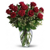 One dozen long stem (60 cm) roses arranged in a larger vase by Floral Artists.  We carry the largest variety of roses anywhere in the south bay area available for daily delivery.  We guarantee all our flowers.  Shop with confidence with a Real Local Florist!