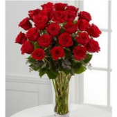 Two dozen roses arranged.  We carry the largest selection of fresh roses anywhere in the south bay area!  We guarantee our roses and never deliver them in a box...rather hand designed by floral artists.  A variety of colors are available, but red is always a traditional favorite.