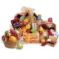 Our Deluxe Fruit & Gourmet basket includes a variety of gourmet items to please any palette. Please note: items vary daily as we shop individually for our gourmet and Fruit items for each order. No two are alike! Items shown should be considered a guide only. Please order at least 36 hours in advance. Please note: picture is a representation only as we shop each basket individually.  It will not look as pictured as size and contents vary.  Picture shown is our $169.95 basket