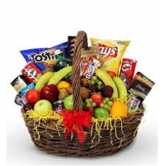 Our Fruit and Munchies basket includes a variety of snack items to please any palette. Please note: items vary daily as we shop individually for our fruit items for each order. No two are alike! Items shown should be considered a guide only.