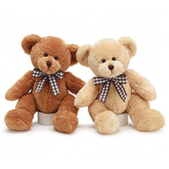 "Quality bears with brown and white check ribbon in a bow around the necks. Easy tie ribbon loop. 13""H"