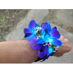 Blue orchid dendrobian wristlet.  You much state your choice of trim color in special instructions.