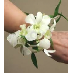 The white dendrobian orchid wrist corsage.  Color trim varies making it necessary to visit our shop should you want to change trim color or style.
