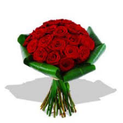 Red Roses wrapped with Ti leaves - in contemporary style.  Perfect to bring home, cut and place in your own vase!