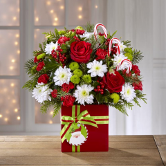 <b> The Holiday Cheer Bouquet....make this holiday the happiest of all with handcrafted bouquets and arrangements from Fremont Flowers. This arrangement features roses, mums, carnations holly and candy canes! <br> Container may vary for out of town orders.
