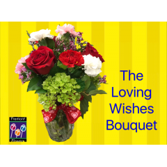 Fremont Flowers will send your loving wishes with delivery of the Loving Wishes Bouquet.  Appropriate for any occasion, the Loving Wishes is filled with favorites: Roses, Carnations, Wax Flower, Mini Hydrangea.  A long lasting gift that conveys your Loving Wishes!