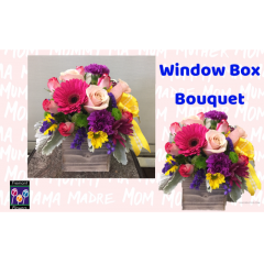 Inspired by beautiful spring window boxes, the Fremont Flowers Window Box bouquet features Roses, Gerbera Daisys, dusty miller, statice and carnations and dusty miller.  It is the perfect gift for Mothers Day.