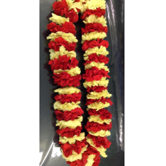 50 carnations are used to make this carnation lei. carnations provide a choice of custom color combinations. Please specify colors in the special instructions. All leis with purple specified should choose the purple lei sku.