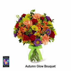 This version of our Autumn Glow is arranged in a clear glass vase.  It features carnations, alstroemeria, mums, asters, daisy mums and solidaster.Colors vary slightly with the season.  Delivery areas served with petal zoom bouquets include the 94536, 94555, 94560, 94587, 94538 and 94539 zip codes only